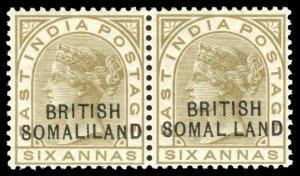Somaliland 1903 QV 6a pair showing the SOMAL.LAND variety MVLH. SG 19,19b.