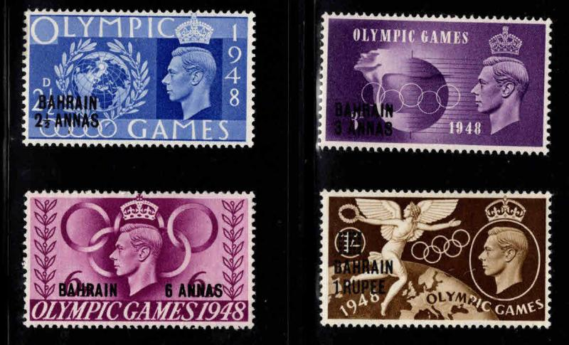 BAHRAIN Scott 64-67 MH* 1948 surcharged Olympic set