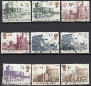 Great Britain - 1988/1992 3p Castels Sc# 1230/1233, 1445/1448  (315N)