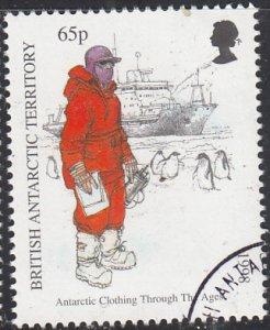 British Antarctic Territory 1998 used Sc #262 65p Man with penguins, ship Ant...