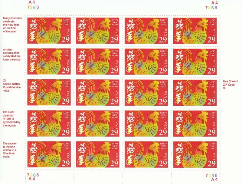 stamp us sc 2720 sheet 1992 chinese new year rooster calendar horoscope mnh - Chinese New Year 1992