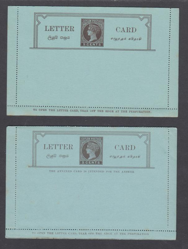 Ceylon H&G A2, A3, mint. 1894 5c letter cards, one with REPLY, VF
