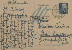 Germany Soviet Zone 12pf Engels Postal Card 1949 Buchholz, (Sachsen) to Berli...