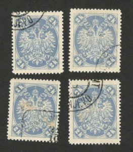 BOSNIA - AUSTRIA - 4 USED STAMPS, 2K - 1900. (41)