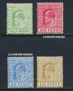 BAHAMAS 1906 SET, VF MNH/LH 1d & 2½d NH SG#71-4 CAT£65 $85 (SEE BELOW)