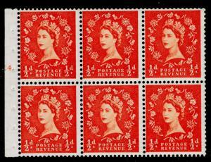 SG540, ½d orange-red, NH MINT. Cat £30. BOOKLET PANE CYL E4 DOT.