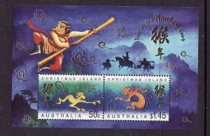 Christmas Is.-Sc#446a-unused NH sheet-Chinese New Year of the Monkey-2004-