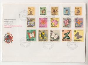 RHODESIA, ZIMBABWE,1974-1976 definitive set of 20 on 2 First Day covers.