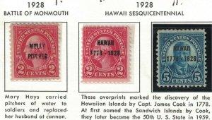 Scott 646 - 648 - Molly Pitcher / Hawaii Overprints. Set Of 3. MH.OG.  #02 646s3
