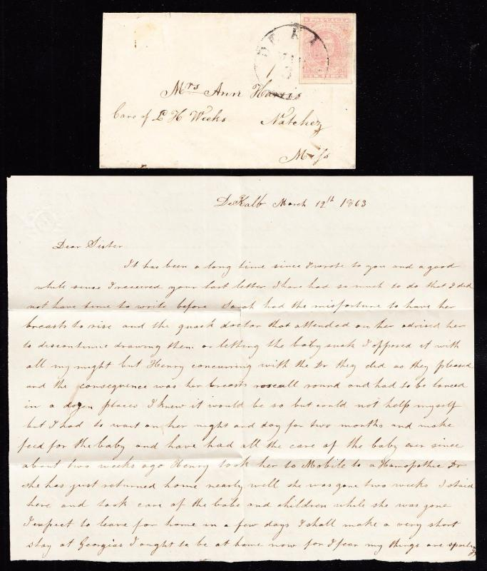 CSA #5 ON COVER W/ ENCLOSURE & CONFEDERATE STAMP ALLIANCE CERT CV $800 HW2204
