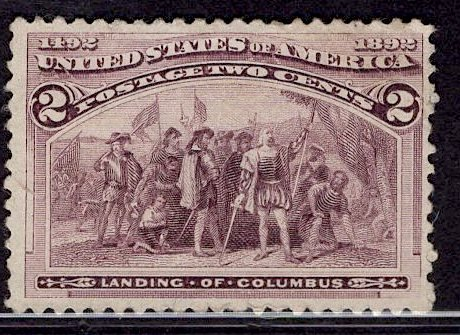 US Stamp #231 2c Columbian MINT NO GUM SCV $12.50 (as hinged)