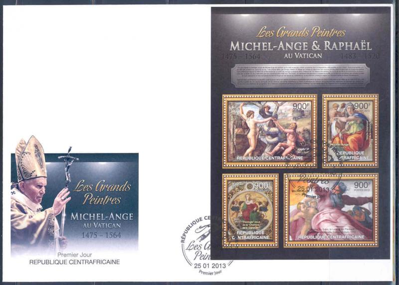 CENTRAL AFRICAN REPUBLIC 2012 MICHELANGELO RAPHAEL IN THE VATICAN SHEET ON  FDC