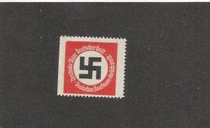 GERMANY WWII PROPAGANDA POSTER STAMP W/SWASTIKA