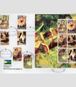 Djibouti 2004 EDGAR DEGAS Painting Set + Sheet Perforated FDC