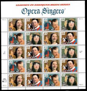 Opera Singers sc 3154-3157 32¢ Sheet of 20    MNH