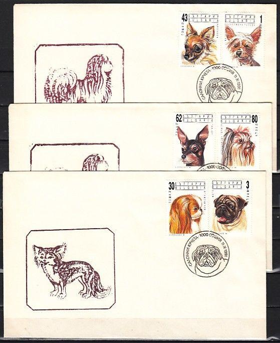 Bulgaria, Scott cat. 3635-3640. Various Breed of Dogs issue. 3 First day covers.
