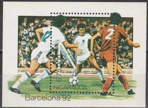 Nacaragua 1990 Soccer Souvenir Sheet  MNH CV $4.00 (S1162)