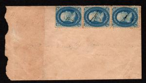 $ US Sc#63 strip of 3 Patriotic Civil War cover Union + Constitution embossed