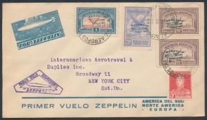 SIEGER #630 ZEPPELIN FLIGHT COVER ARGENTINA TO USA HV7430