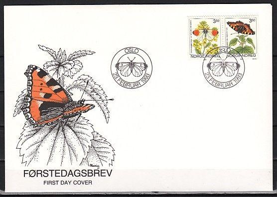 / Norway, Scott cat. 1033-1034. Butterflies issue. First day cover.