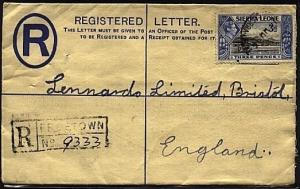 SIERRA LEONE 1946 GVI 3d registered envelope uprated used to UK............19366