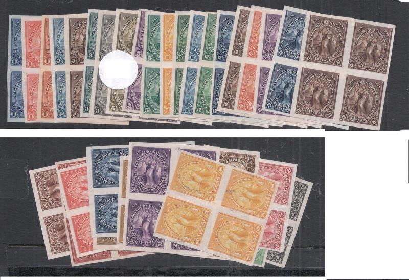 El Salvador SC 1886 Plate Proof Blocks of 4 X 29 MNG (13dmp)