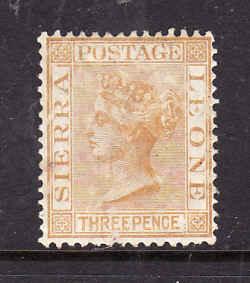 Sierra Leone-Sc#15-unused hinged 3p yellow buff-QV-1876-96-