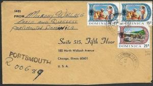 DOMINICA 1975 Registeed cover to USA ex PORTSMOUTH.........................50249
