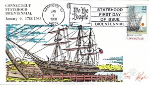 Pugh Designed/Painted Connecticut Statehood FDC...10 of 176 created!