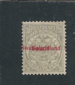 SWAZILAND 1892 ½d GREY OVERPRINT DOUBLE MM SG 10b RPS CERT CAT £500