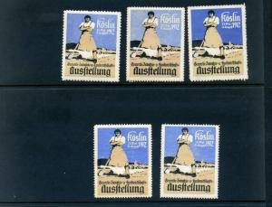 5 VINTAGE 1912 GERMAN HAND WORKERS INDUSTRY EXPO POSTER STAMPS (L758) GERMANY