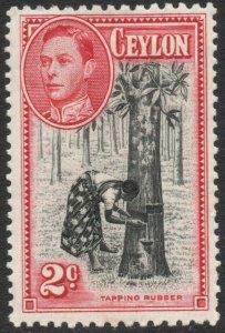 CEYLON-1938 2c Black & Carmine Perf 11½ x 13 Sg 386 MOUNTED MINT V45920