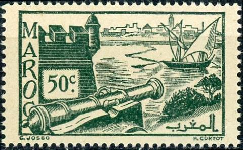 French Morocco #159A 50c Ramparts of Sale Unused/NH
