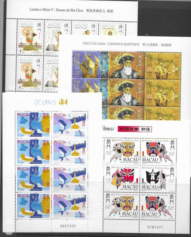 Macau 872a,955a MNH sheets and more, vf see desc. 2020 CV$164.80