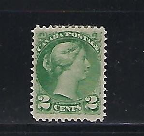 CANADA SCOTT #36 1870-89 SMALL QUEEN 2 CENT (GREEN) MINT HINGED