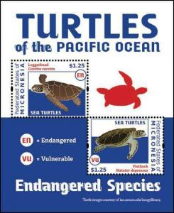Micronesia - Sea Turtles on Stamps - 2 Stamp  Sheet MIC1217S