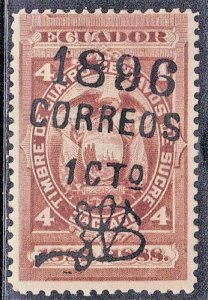 ECUADOR  SC # 73D **USED** 1896  SURCHARGE SEE SCAN