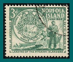 Norfolk Island 1956 Landing of Pitcairners, 3d used  #19,SG19