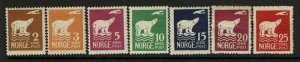 Norway SC# 104-110, Mint Hinged, Hinge Remnant, see notes - S9394