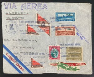 1936 San Antonio Guatemala Bisect Stamps Airmail Cover To Berlin Germany