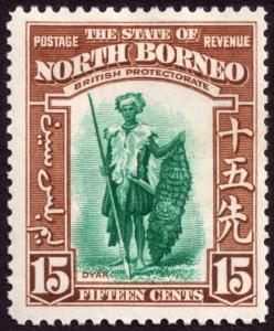 North Borneo 1939 15c Blue-Green & Brown SG311 MH