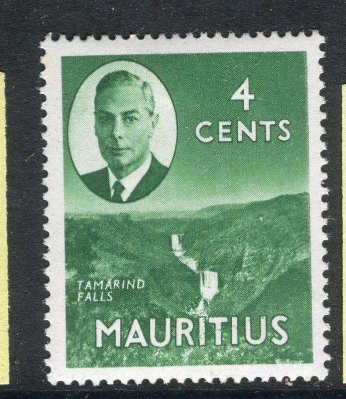 MAURITIUS;  1950 early GVI issue fine Mint hinged 4c. value