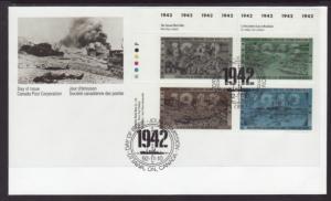 Canada 1451a Anniversary WWII Plate Block Canada Post U/A FDC