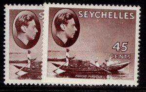 SEYCHELLES GVI SG143a + 143b, 45c PAPER VARIETIES, M MINT. Cat £57.