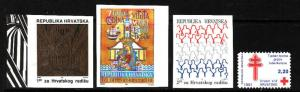Croatia-Sc#RA20c,RA21a,RA23a,RA24-unused NH Postal Tax-1991-