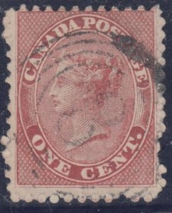 4 ring  #8 -- 1c #14ii DEEP ROSE on very thick paper RF4 CHATHAM F-VFCanada used