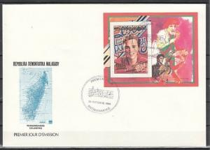 Malagasy Rep., Scott cat. 874. Elvis Presley s/sheet on a First day cover.