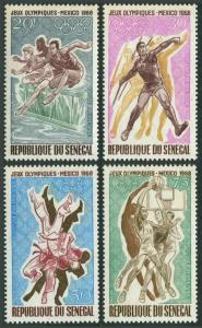 Senegal C63-C66,MNH.Michel 385-388. Olympics Mexico-1968.Hurdling,Javelin,Judo,