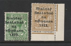 Ireland a MH pair of GB KGV with 1922 overprints