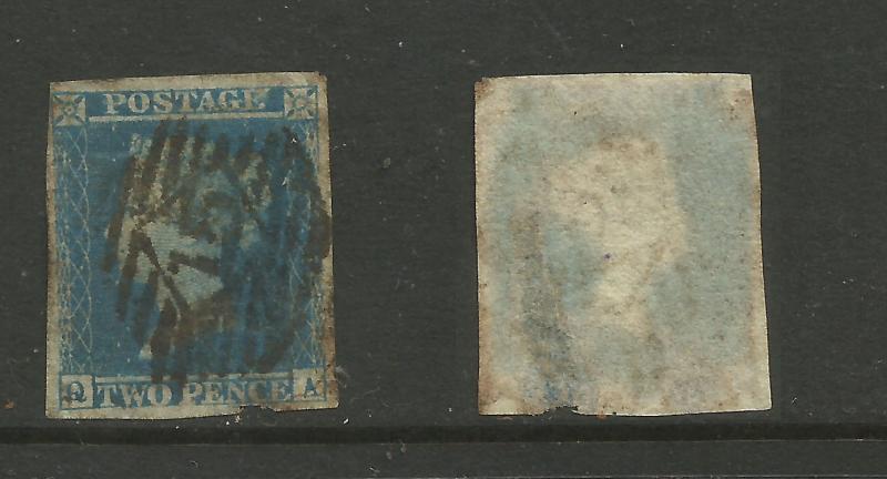 GB 1841 QV 2d Blue Ivory Head used stamp ( Q & A )WMK 2 PMK 15 ( C750 )